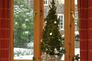 Long Barn  window with Christmas tree